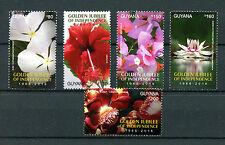 Guyana 2016 MNH Golden Jubilee of Independence Flowers 5v Set Flora Stamps