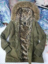 Womens Parka Jacket Coat Olive Army Green Fuzzy Leopard Print Sz Medium Warm