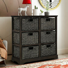 Storage Chest Storage Cabinet w/ 6Rattan Baskets Bench Home Entryway Living Room