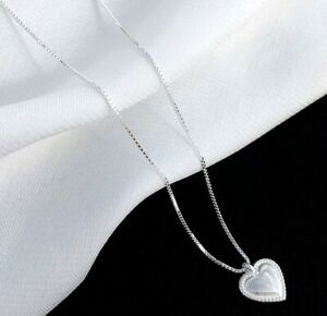 """Chic Fashion Women Silver Heart Love 925 Sterling Silver Chain Necklace 16-17.8"""""""