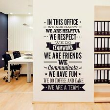 "OFFICE RULES ""WE ARE A TEAM"" Removable Wall Decal Vinyl Quote Stickers Decor Art"