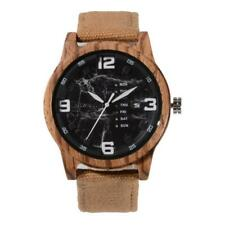 BEWELL Fashion Canvas Strap Wood Watch Exquisite Wooden Men Casual Wristwatch