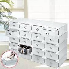 20 Transparent Schuhbox Stapelbar Schuhkarton Schuhaufbewahrung Schublade