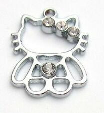10 Silver Plated Crystal Rhinestone Charm/Pandent/Bracelet/Bead-Kitty Cat K135