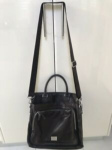 Oroton Work Bag Companion Unisex Fits Laptop Brown Leather Cross Body EUC