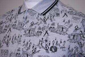 Fred Perry x Margate Whitsun Weekend Print Polo Shirt - M - Grey/Black- Rare Top