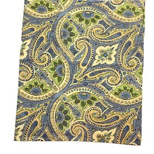 """April Cornell Table Linen Runner Blue Yellow Green Paisley Floral Cotton 88""""x17"""""""