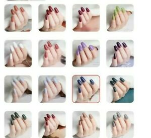 24 SHORT COLOURED COFFIN FULL FALSE NAILS - FREE STICK PADS AND FILE - UK SELLER