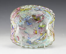 Italian Art Glass Murano Dish Ashtray multicolored swirls of color encased