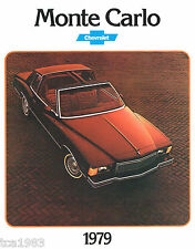 1979 Chevy MONTE CARLO Brochure / Pamphlet / Catalog with Color Chart