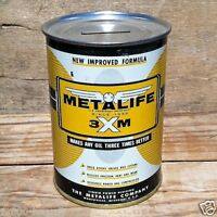 Original METALIFE MOTOR OIL Tin Can Coin Bank PROMOTIONAL GIVEAWAY 1950s NOS