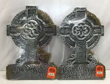 "22"" Halloween Mossy Celtic Cross Tombstone Gravestone Party Decoration Set of 2"