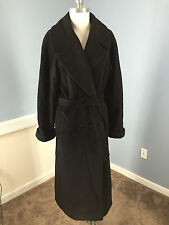 John Weitz Black Cashmere Wool Blend Long Coat 2 XS Belt Double Breasted over *