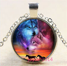 Horse and Wolf Cabochon Tibetan silver Glass Chain Pendant Necklace #3547
