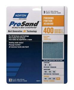 """Norton 68156 9"""" x 11"""" 400 ProSand Sheet 3Pk"""