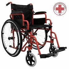 Carrozzina leggera alluminio pieghevole autospinta sedia rotelle disabili Rosso