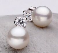 Genuine 8-9 mm Freshwater Pearl Earrings with 925 Silver Direct From Pearls Farm