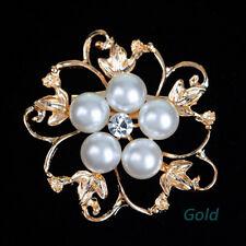 Bridal Bouquet Flower Pearl Brooch Pin 1 Pcs Fashion Rhinestone Crystal Wedding