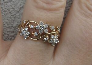 Beautiful Diamonds 9k Yellow Gold Floral Design Ring