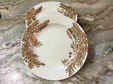 222 Fifth Golden Pine Salad Plates. White And Gold. Pretty. Set Of 4. Porcelain
