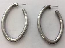 Vintage Sterling Silver 925 Large Oblong Hoop Earrings TOL21