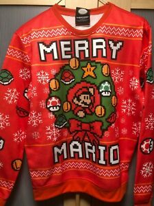 NWT Super Mario Bros Merry Christmas Red Ugly Sweater Sweatshirt  Small Medium