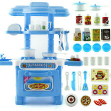 Plastic Kitchen Toy Kids Cooking Pretend Play Set Toddler Playset Toy Gift Blue