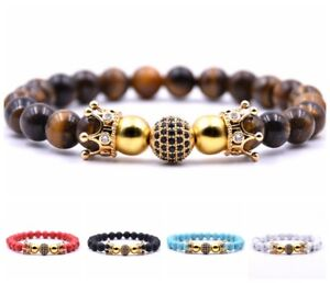 Zircon Balls Double Crown Bracelet Tiger Eye Turquoise Stone Bracelet For Unisex