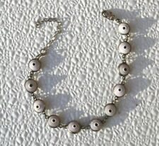 "on 925 Sterling Silver 7""-9"" adjustable Rose pink Evil Eye Beads Anklet Bracelet"