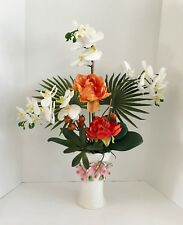 Decorative White Silk Orchids and Orange Roses with Palm Branchs Green Foliage