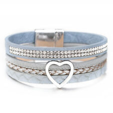 Fashion Women Beaded Multi-layers Love Heart Animal Leather Wrap Charm Bracelet