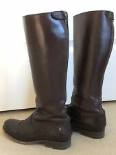 Frye 7M Melissa Button Back Zip Boot, Smooth Dark Brown Leather