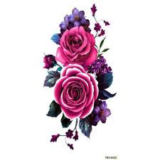 Purple Rose Blossom Flower Temporary Tattoos Stickers Body Art 3D  Waterproof UK