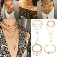 Women Crystal Multi-Layer Choker Collar Chunky Pendant Chain Necklace Jewelry