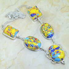 """Rainbow Mosaic Jasper 100% Pure 925 Sterling Silver Necklace 20"""" #X22313"""