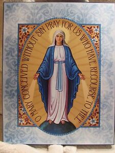 """Small 4.5"""" x 6"""" Miraculous Medal Wooden Wall Plaque"""