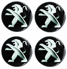 4 x PEUGEOT 60mm CENTRE SILICONE STICKERS WHEEL DOME HUB CAP LOGO EMBLEM A 9