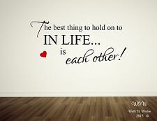 Hold On To Each Other Beautiful Quote Adult Bedroom Wall Sticker Wall Decal