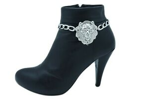 Women Silver Metal Boot Chain Bracelet Anklet Shoe Lion Charm Fashion Jewelry