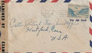 1943 Canal Zone censored cover sent from Balboa to Hartford Conn USA