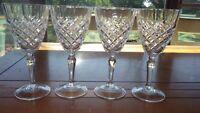 Clear Crystal Wine Glasses X design 4 6oz elegant stems EUC