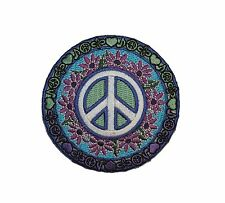 Peace Love Music Sign Purple Daisy Flowers Groovy Hippie Iron On Applique Patch