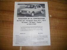 REVUE TECHNIQUE évolution des FIAT 127 de base a sport et fiorino de 1984 à 1985