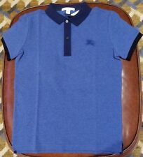 NWT BURBERRY BOYS Blue/Navy Blue cotton Contrast Polo Shirt SZ 10Y
