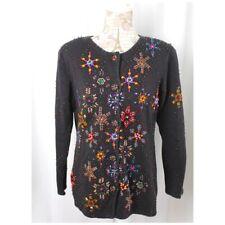 Michael Simon Beaded Snowflakes Black Cardigan Sweater 90s Size Medium