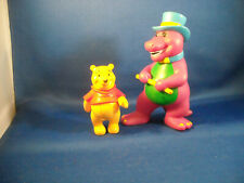 """VINTAGE BARNEY THE PURPLE DINASOUR W/TOP HAT 5"""" TALL& WINNIE THE POOH [LEGO GRP]"""