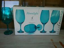 SET OF 4 RED WINE/SANGRIA /PINA COLADA GLASSES /GOBLETS ~BLUE COLORED NIB 9 X 3""