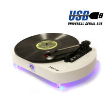 Modern Vinyl LP Record Player Turntable USB with Stereo Speakers Blue LED Light