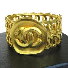 Auth CHANEL CC Logos Bangle Bracelet Gold-tone 06P Accessory Vintage 71ER818