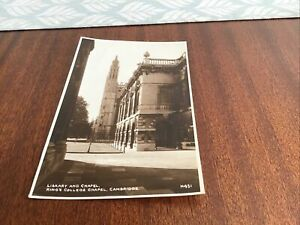 VINTAGE POST CARD LIBRARY AND CHAPEL,KING'S COLLEGE CHAPEL,CAMBRIDGE..